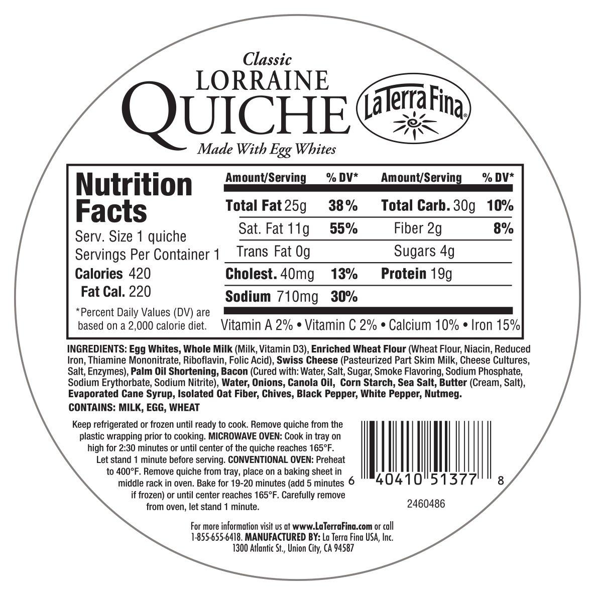 La Terra Fina Classic Quiche Lorraine 6 Oz Amazon Grocery