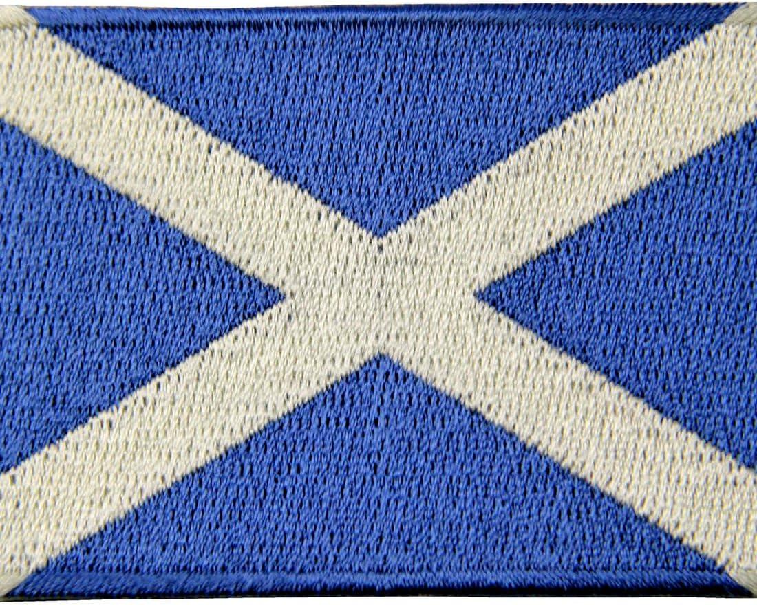 Écosse drapeau bannière patches brode appliques 7,1x6,1cm blanc Ecusson