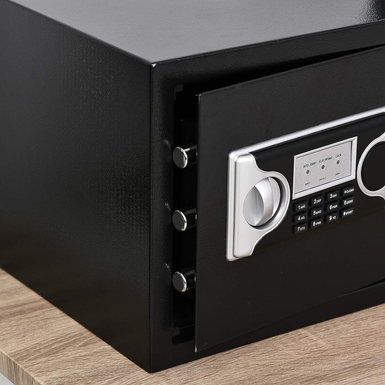 HOMCOM Caja Fuerte Electr/ónica S/ólida Caja de Seguridad con Llave 2 C/ódigos para Casa Oficina Capacidad de 27 L Acero 38x30x30 cm Negro