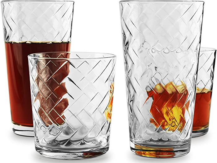 Circleware Chevron Huge 12-Piece Glassware Set of Highball Tumbler Drinking Glasses and Whiskey Cups for Water, Beer, Juice, Ice Tea Beverages, 6-15.75 oz & 6-12.5 oz, Clear
