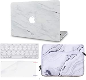 "LuvCase 4in1 Laptop Case for MacBook Pro 13""(2020/2019/2018/2017/2016) w/wo Touch Bar A2159/A1989/A1706/A1708 Hard Shell Cover, Sleeve, Keyboard Cover & Screen Protector (Silk White Marble)"