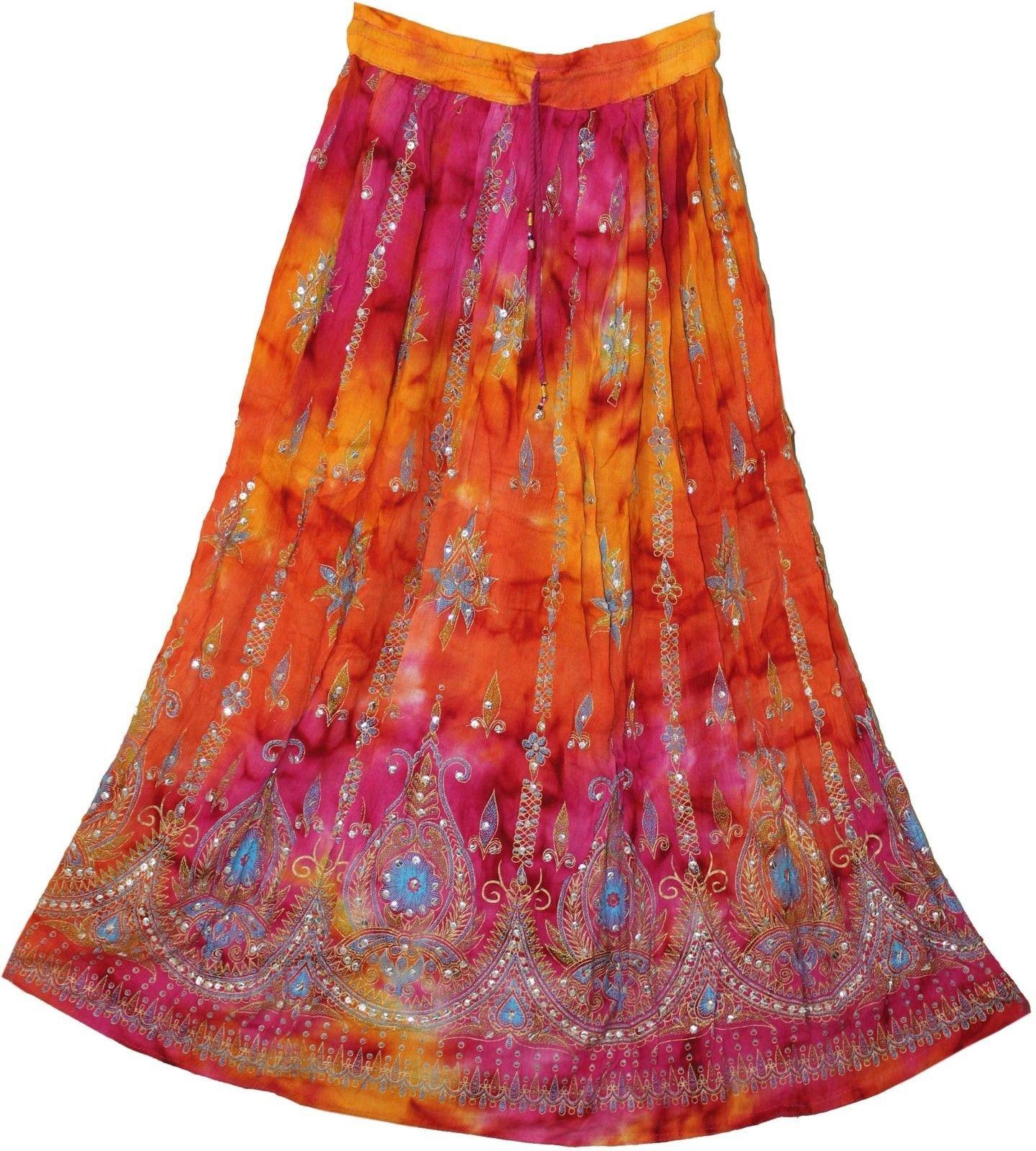RADHY KRISHNA FASHIONS Multi tie dye Yoga Trendz Women's Sequined Crinkle Broomstick Gypsy Long Skirt