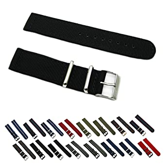 HNS Watch Bands - Choice of Color & Width (18mm, 20mm, 22mm, 24mm) - 2  Piece Ballistic Nylon RAF MATO Straps