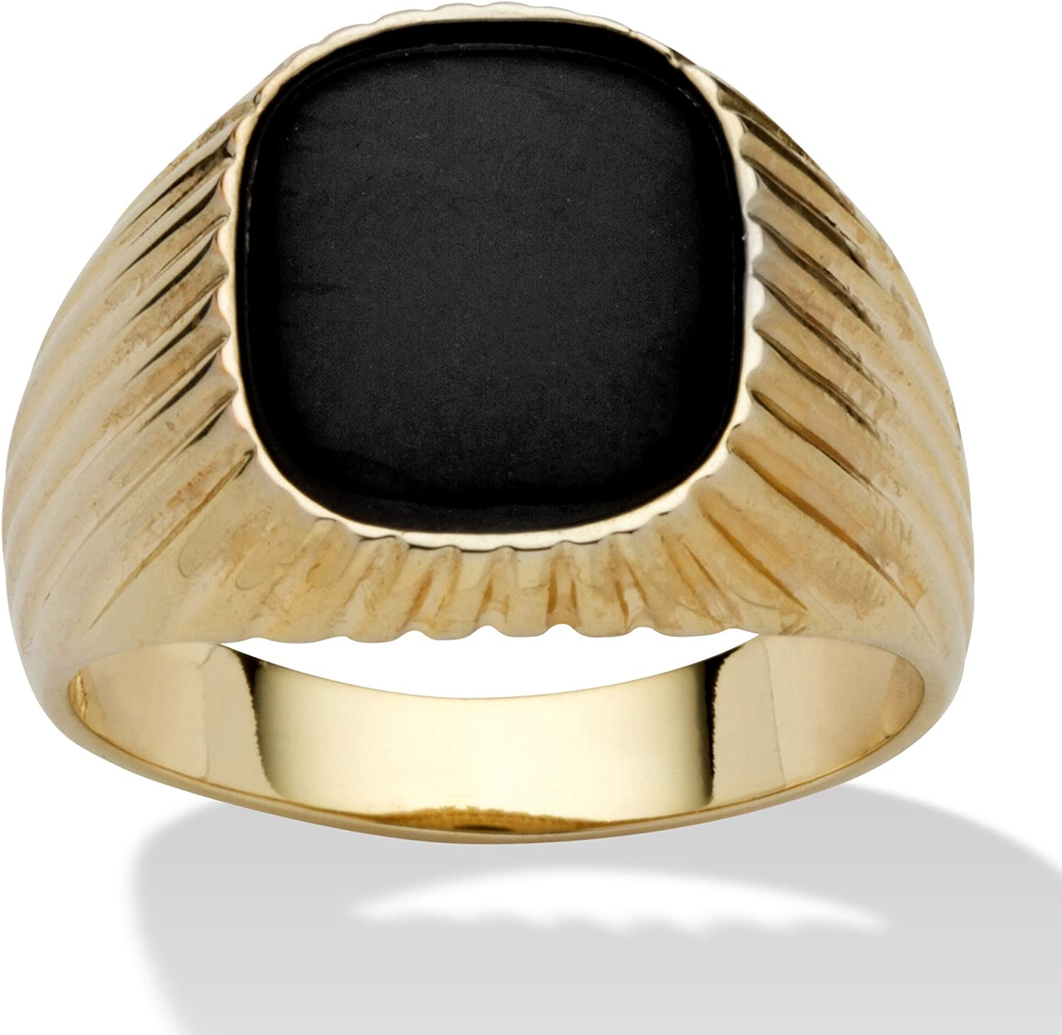 Palm Beach Jewelry Men's 14K Yellow Gold Plated Rectangular Shaped Natural Black Onyx Ribbed Ring