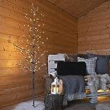 Arbre Lumineux Artificiel Branches Enneigées Pré-illuminé 160 LED Éclairage Blanc Chaud Waterproof 1,60 Mètre