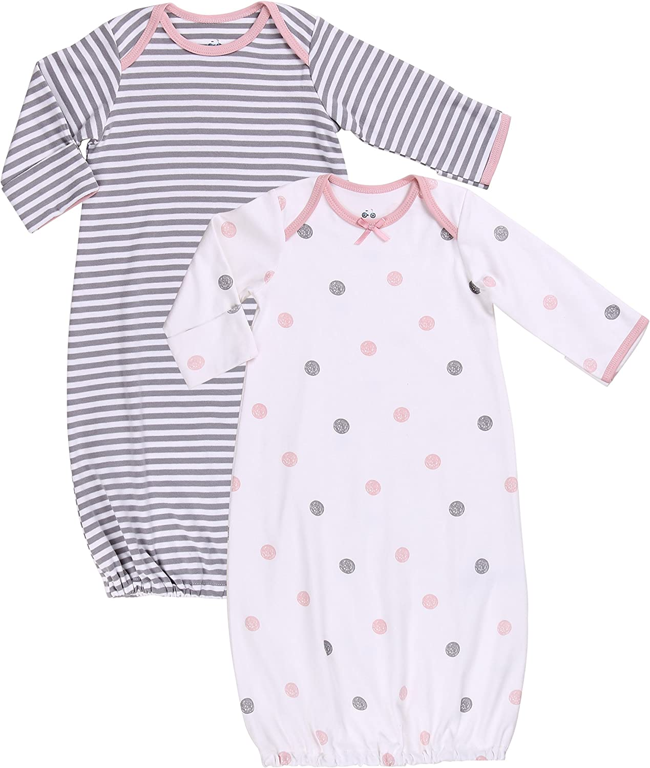 MARQUEBABY Babys Summer Sleep Gown Soft Cotton Lightweight Mittens Sleeper