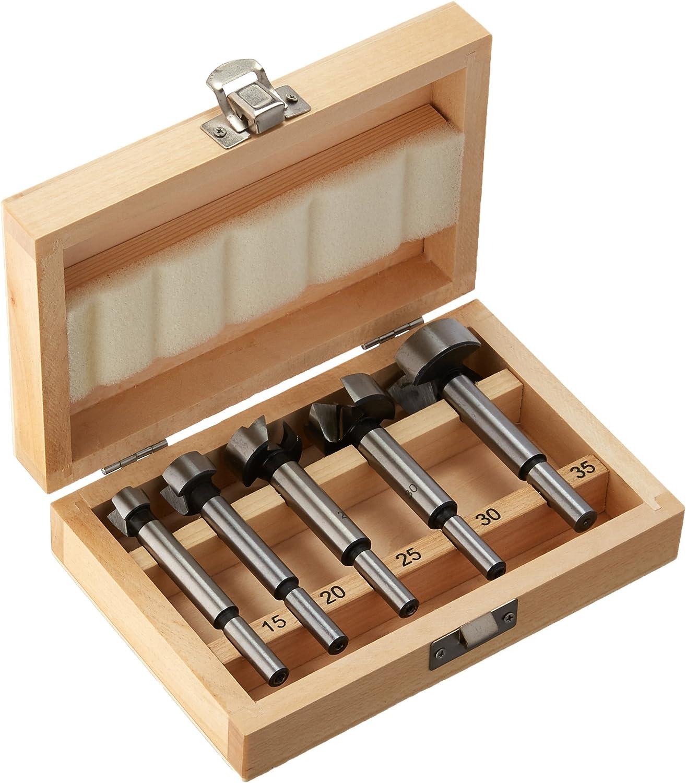 Edess/ö 146915035 Zapfenschneider Inhalt 15//20//25 und 30 mm Forstnerbohrer-Set in Holzkiste Silber