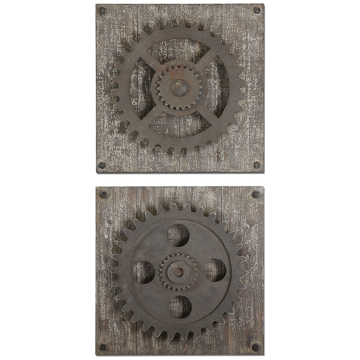 Amazon Uttermost 13828 Rustic Gears Wall Art Set Of 2 Prints Posters