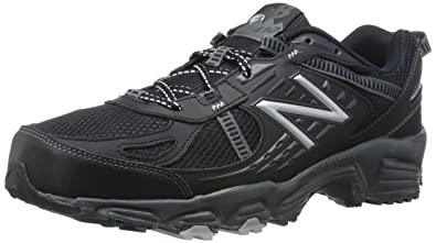 New Balance Men's MT410BS4 Trail Shoe, Black/Silver, 8 4E US