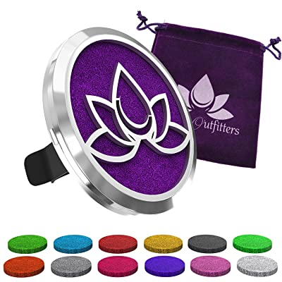 Car Diffuser Vent Clip - Aromatherapy Essential Oil Air Freshener Diffusers Improve Air Quality, Motion Sickness & Promote Calm Driving. Lotus Flower Stainless Steel Locket & 12 Bonus Oils Felt Pads.: Beauty