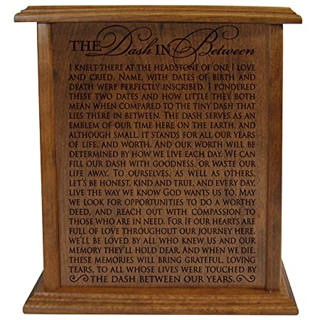 The Dash In Between Keepsake Cremation Urn for Human Ashes Hand Made in Solid Cherry Wood Hand Finished and Laser Engraved Wooden Cremation Urn in Home or Niche At Columbarium