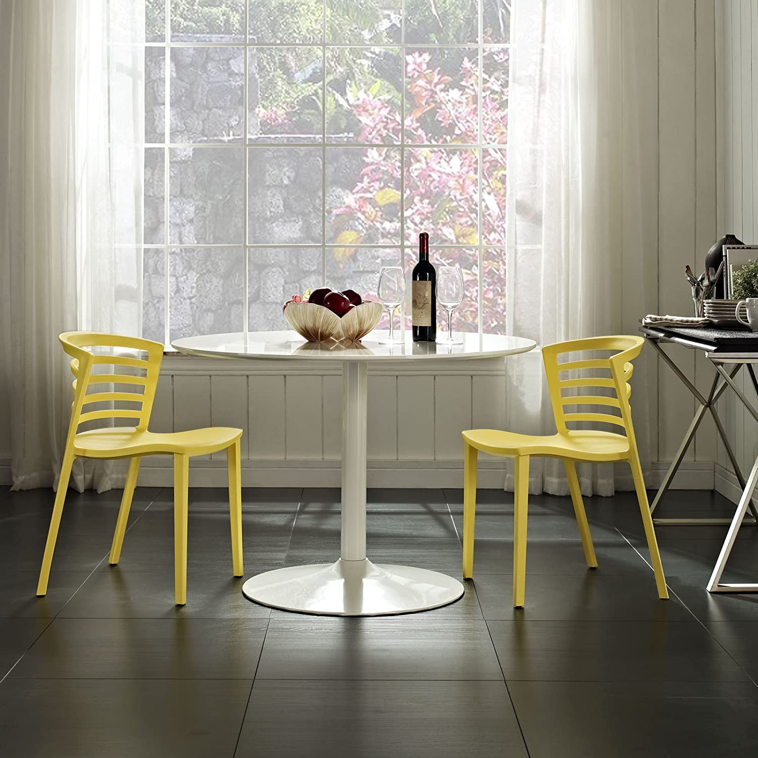 Modway Curvy Contemporary Modern Molded Plastic Two Kitchen and Dining Room Chairs in Yellow – Stackable – Comes Fully Assembled
