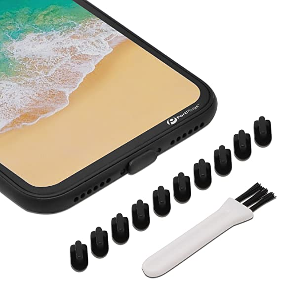 new arrivals f8632 26583 PortPlugs - Anti Dust Plugs - Compatible with iPhone 7, 8 Plus, X, XS, XR  (10 Pack) - Port Cleaning Brush Included (Black)