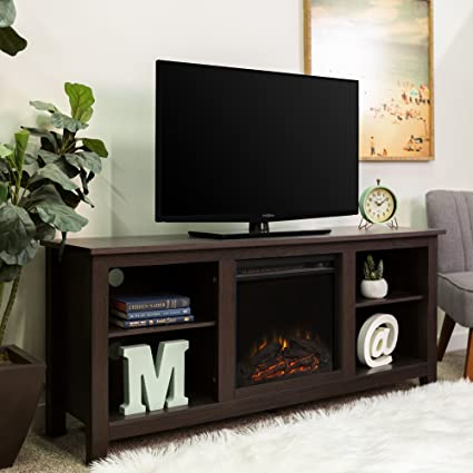 Amazon Com Walker Edison W58fp18es Fireplace Tv Stand Espresso 58