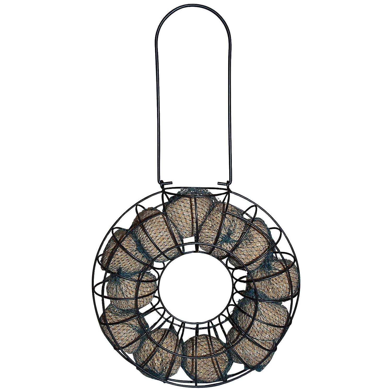 Mangeoire pour oiseaux sauvages Ø 20 cm - Couronne de boules de graisse à suspendre - Jusqu'à 12 boules de graisse Powerpreise24