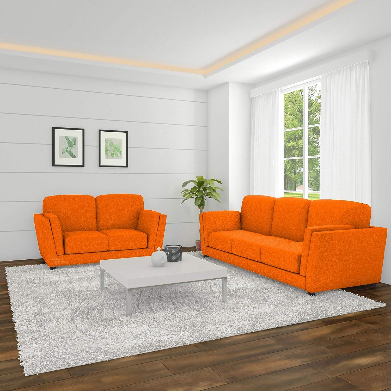 Adorn Homez Cabana Fabric 5 Seater 3+2 Sofa Set (Orange ...