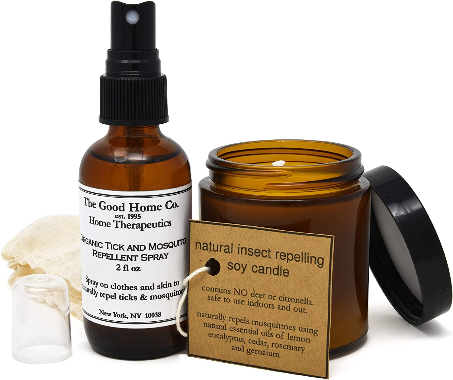Natural Insect Repellent Spray and Candle, Repel Mosquito & Ticks with Essential Oils, Safe and Natural for Indoor and Outdoor Use, 2 oz Spray + 4 oz Candle, Made in The USA by The Good Home Co.