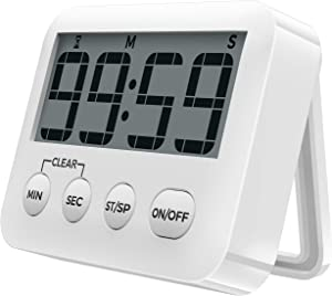 [2021 Latest] Digital Kitchen Timer Magnetic Countdown Timers, Stopwatch with Loud Alarm, Big Digits, Back Stand for Cooking, Study, Classroom, Bathroom, Teachers, Kids - AAA Battery Included