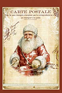 "Santa on a Carte Postale Christmas Postcard Decorative Garden Flag, Double Sided, 12"" x 18"" Inches, French Christmas Nostalgic Sign Banner"