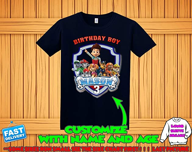 Amazon Paw Patrol Birthday Shirt Custom Tshirt Party Shirts Family Matching T