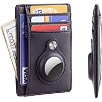 Hawanik Slim Minimalist Front Pocket Wallet with Built-in Case Holder for AirTag (Black)