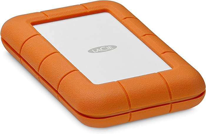 LaCie Rugged Thunderbolt USB-C 500GB SSD Solid State Drive Portable – USB 3.0 compatible, Drop Shock Dust Water Resistant, Mac and PC Computer Desktop Workstation Laptop, 1 Month Adobe CC (STFS500400)