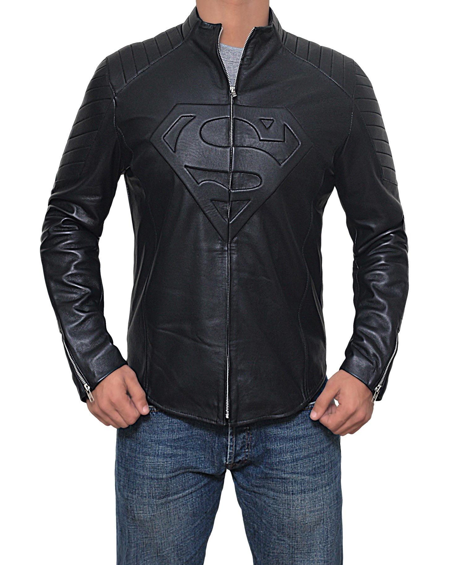 Mens Black Superman Leather Slim Fit Jacket (Superman Jacket, XL)