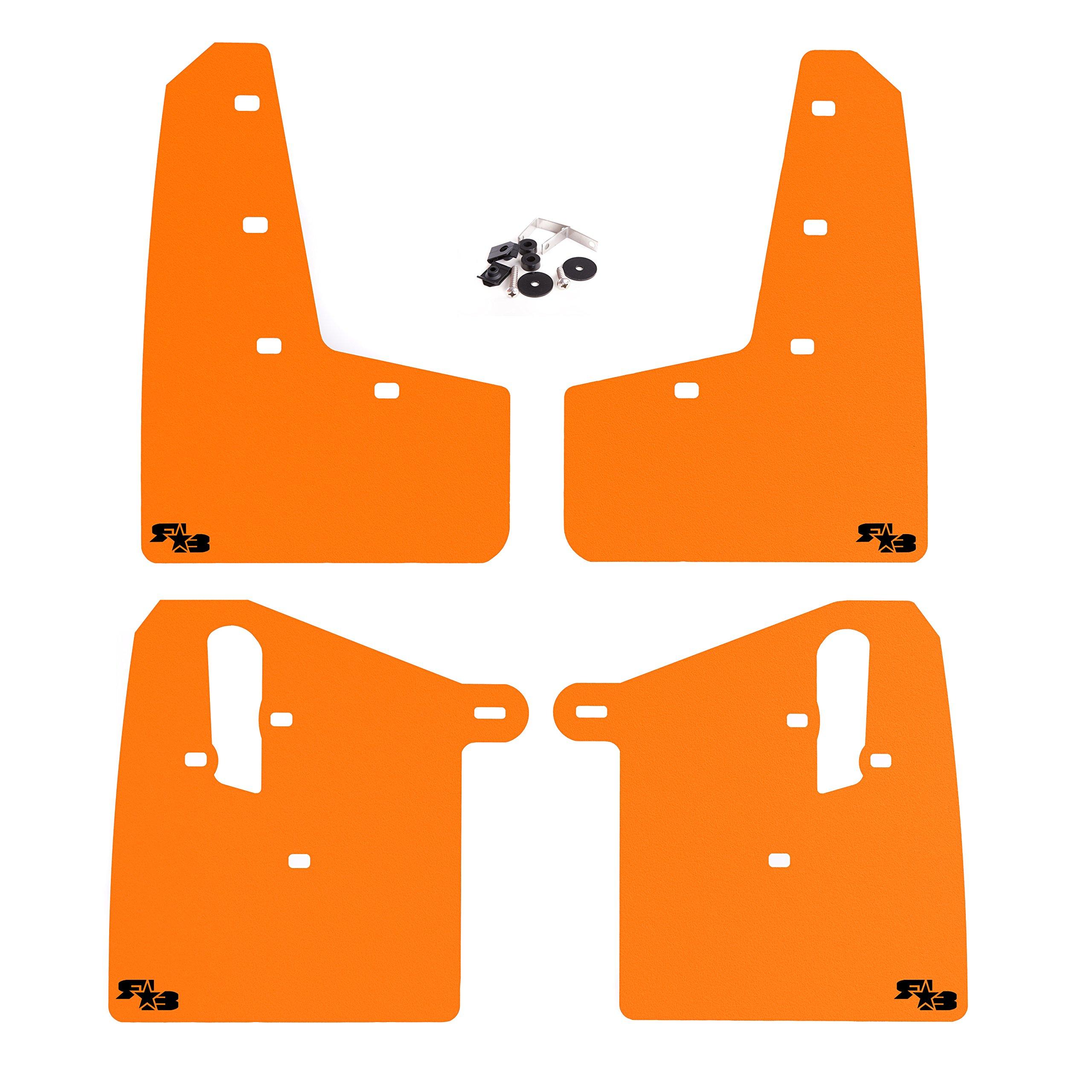 RokBlokz Mud Flaps for 2015+ Subaru WRX STI - Multiple Colors Available - Includes All Mounting Hardware (Orange with Black Logo, Short)