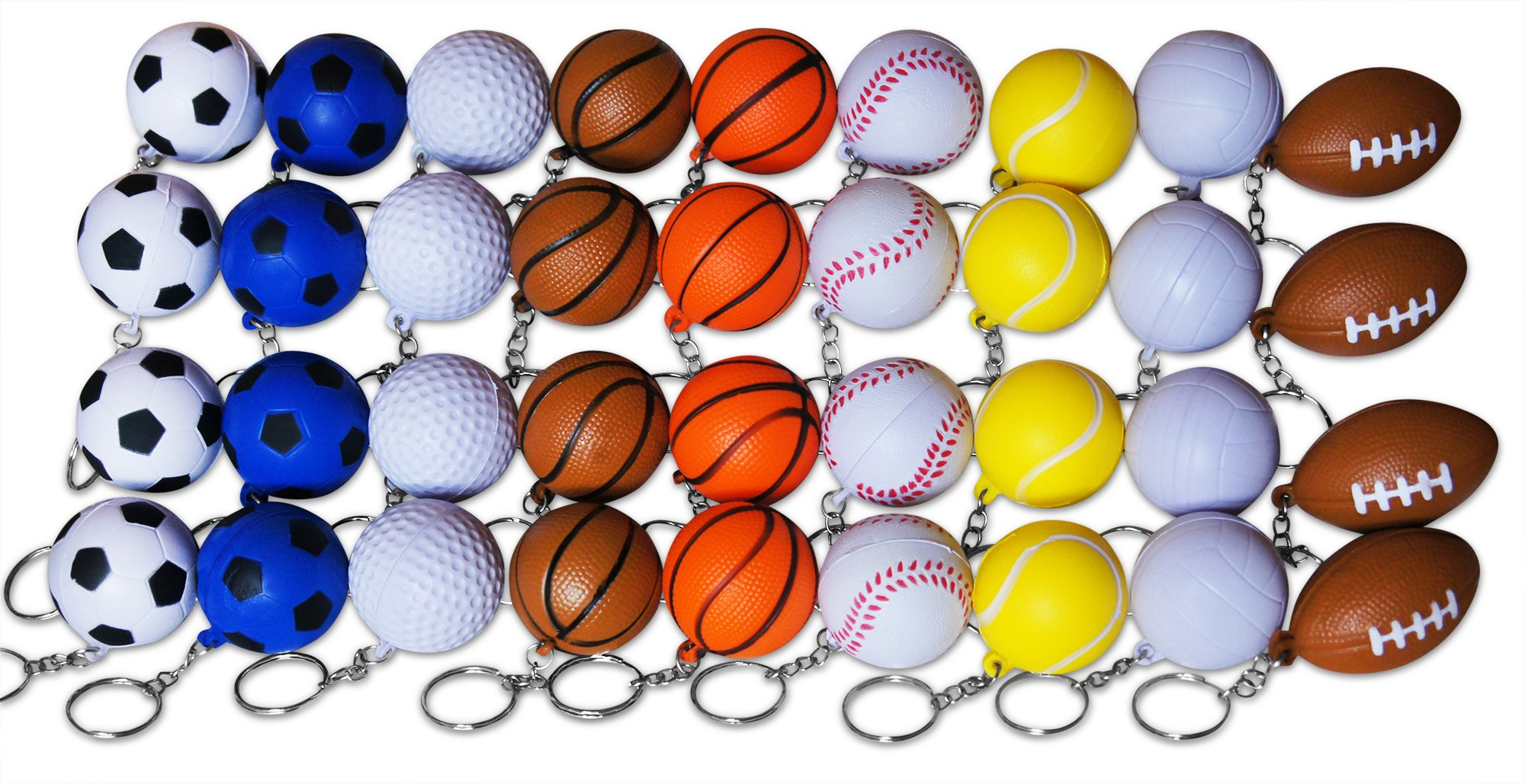 Novel Merk 36-Piece Sports Ball Keychains Pack for Kids Party Favors & School Carnival Prizes Includes 4 Each of 9 Different Designs