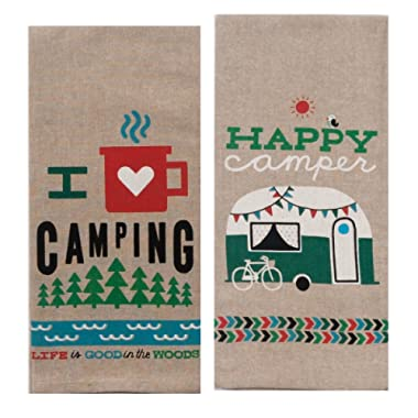 Kay Dee Designs Camping Adventures Chambray Towel Set - One Each Happy Camper & I Heart Camping