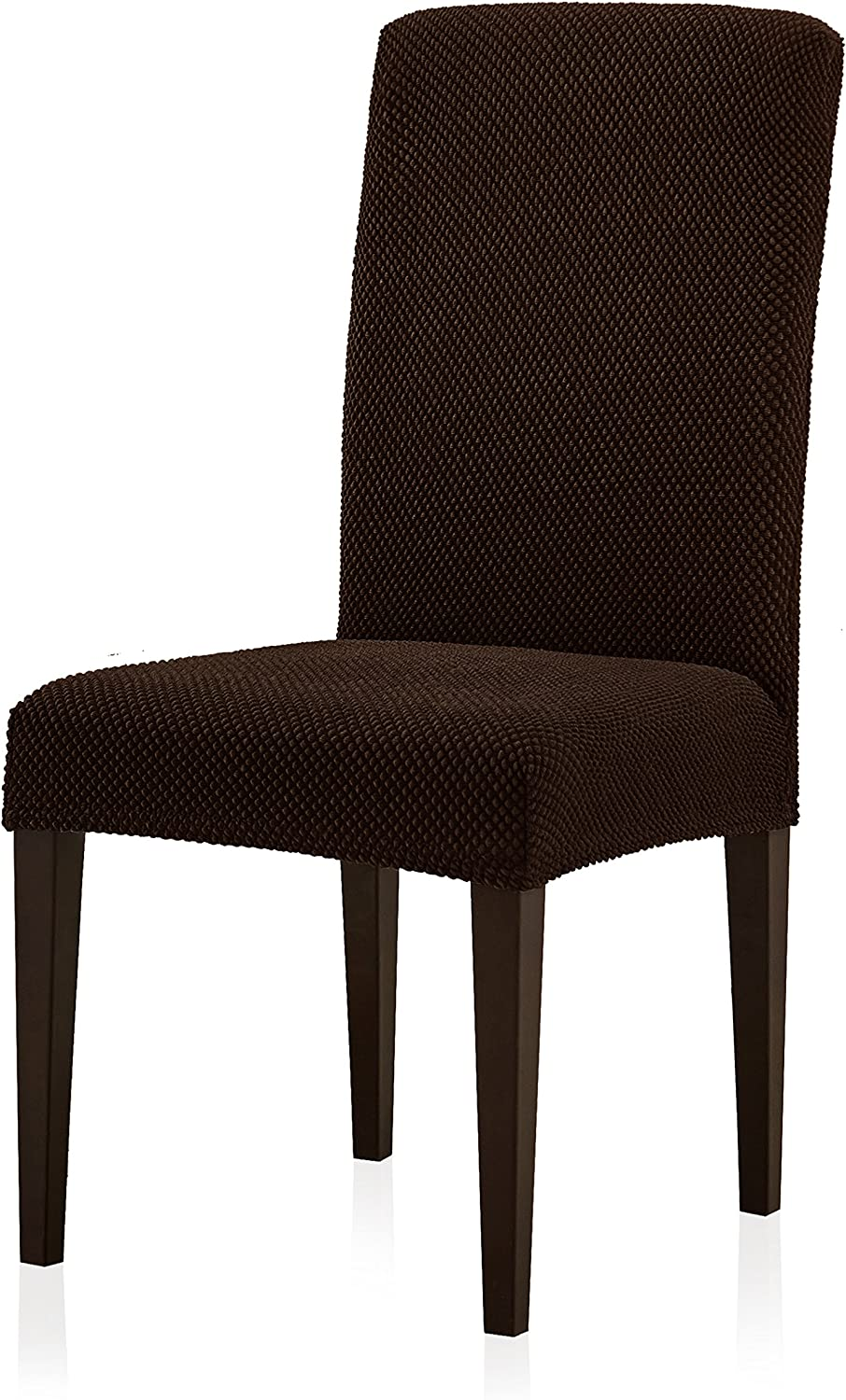 Subrtex Jacquard Dining Room Chair Slipcovers Sets Stretch Furniture Protector Covers for Armchair Removable Washable Elastic Parsons Seat Case for Restaurant Hotel Ceremony (4, Chocolate)