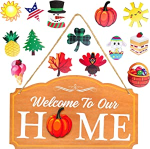 Mulbozy Interchangeable Seasonal Welcome Sign Front Door Decor, 14 Style Welcome to Our Home Wooden Sign, Rustic Wood Welcome Signs Wall Hanging Porch Decoration for Fall Christmas Thanksgiving Home