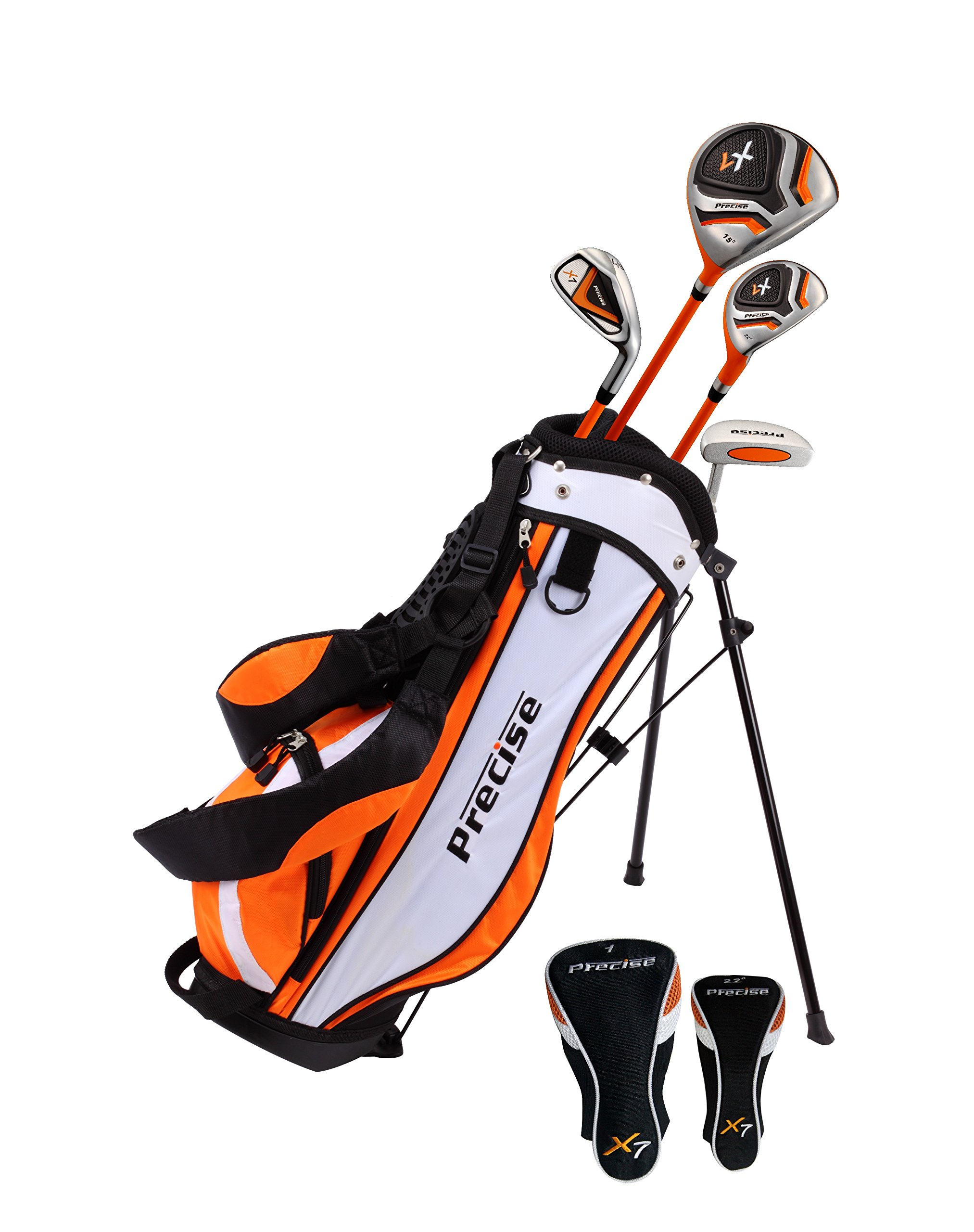 Distinctive Right Handed Junior Golf Club Set for Age 3 to 5 (Height 3' to 3'8'') Set Includes: Driver (15''), Hybrid Wood (22, 7 Iron, Putter, Bonus Stand Bag & 2 Headcovers by Precise