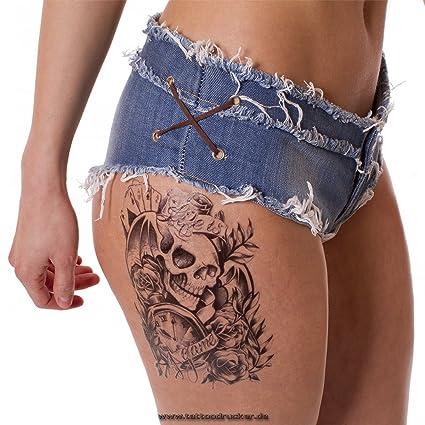 Hombres Tattoo Negro Brazo Brazo Tatuaje Pegatinas Rosas Calavera
