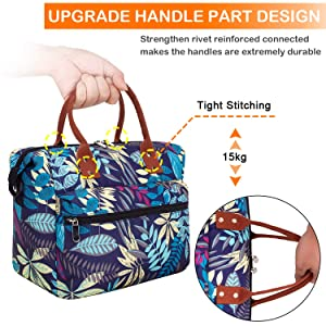Leakproof Insulated Lunch Tote Bag with Adjustable & Removable Shoulder Strap, Durable Reusable lunch Box Container for Women/Men/Kids/Picnic/Work/School-Purple Leaf (Color: A8-Purple Leaf)