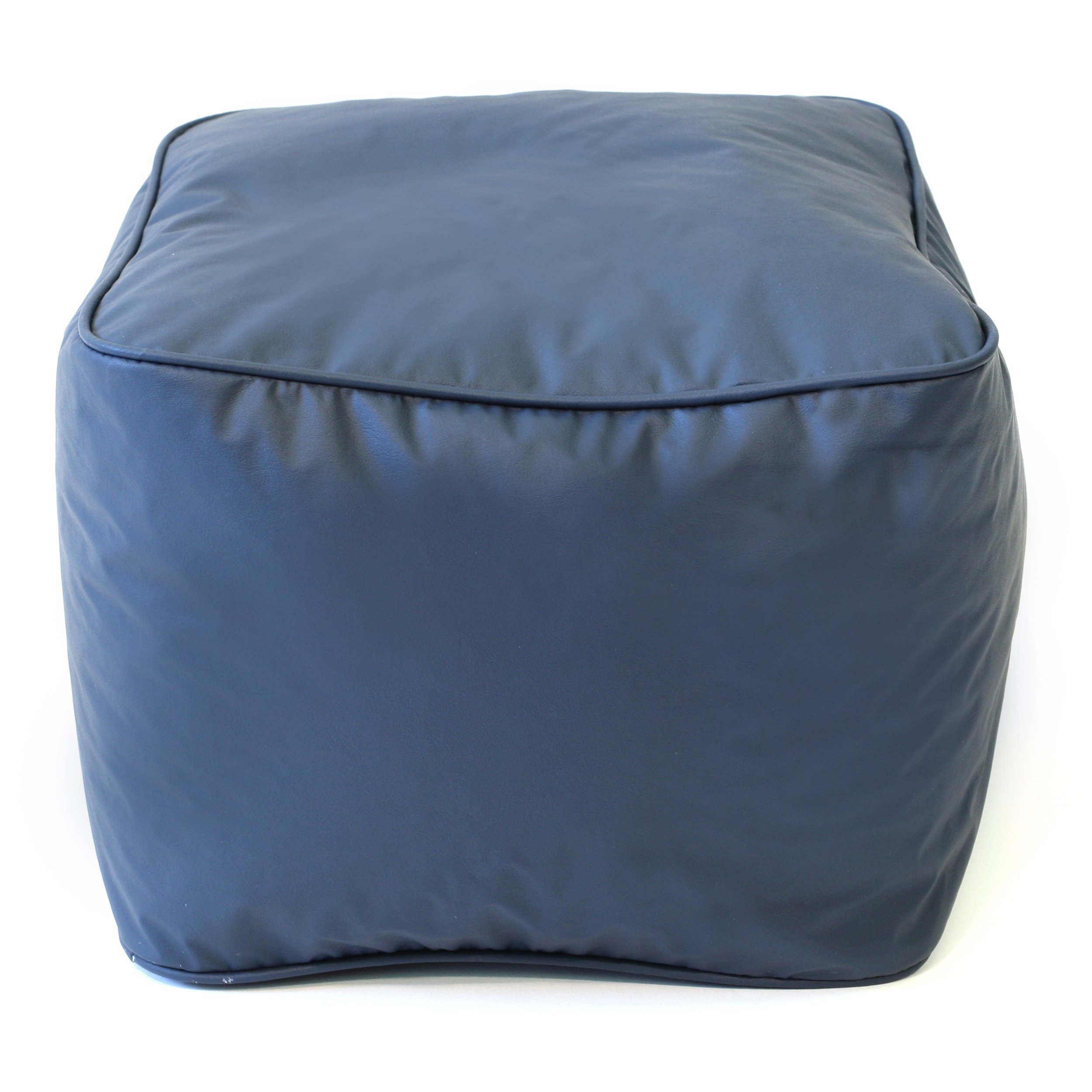 Gold Medal Bean Bags Leather Look Vinyl Ottoman, Small, Navy