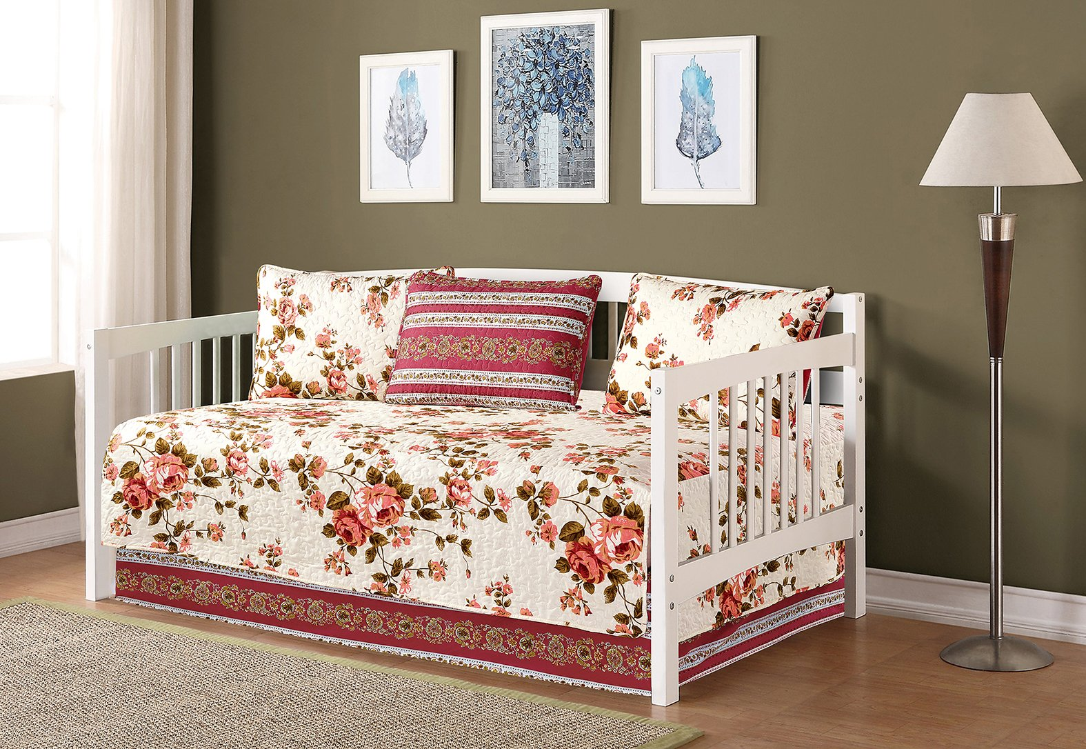 Mk Collection 5pc Day Bed Reversible Quilted Cover Set Floral Beige Pink Green New