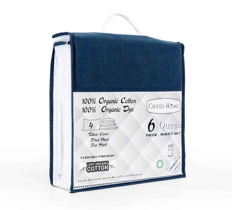 amazoncom organicpro 100 certified organic cotton 6 piece queen bed sheet set by cifelli home u2013 deep pocket u0026 ecofriendly queen white home u0026 kitchen