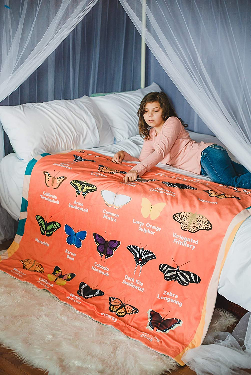 birdyboutique.com Birds Butterflies Common Backyard Species Pictures Names Identification Chart Soft Warm Learning Blanket for Kids Large 50x60 Educational Gift