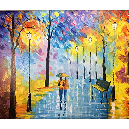 Amazon Com Yqm Art Abstract Painting On Canvas Colorful Street
