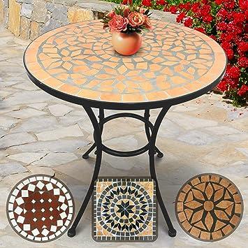 Table de Jardin Mosaïque | Ronde, Ø/H: 60x70cm, Terracotta-Noir | Design au  Choix | Table Guéridon, Bistrot, Terrasse, Balcon