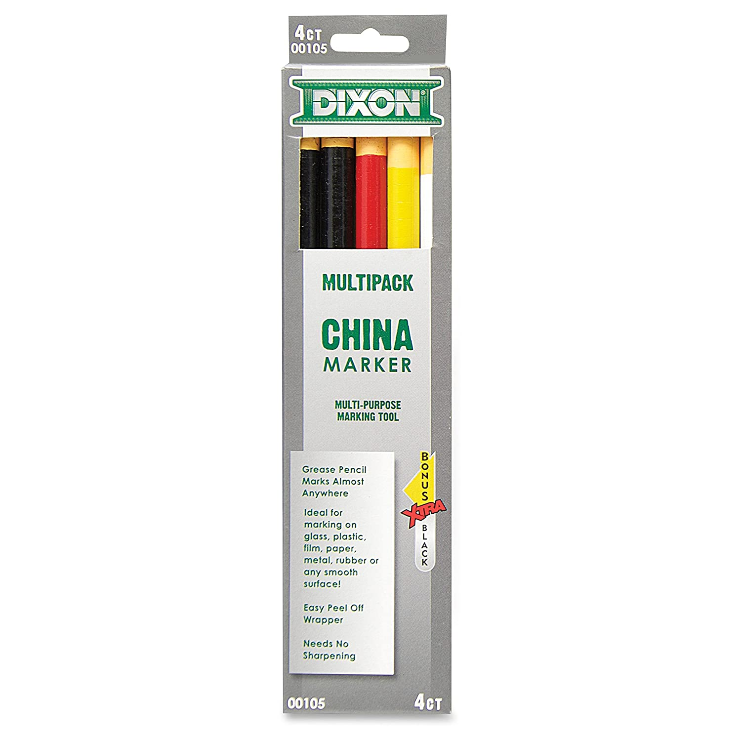 Dixon Phano China Marker, Black/Red/White/Yellow, Bonus Black (00105) Dixon Ticonderoga