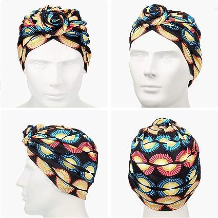 3 Piezas Turbante Africano para Mujeres Gorro de Nudo Pre-Atado Envoltura de Cabeza Negro, Azul, Flor Rosa