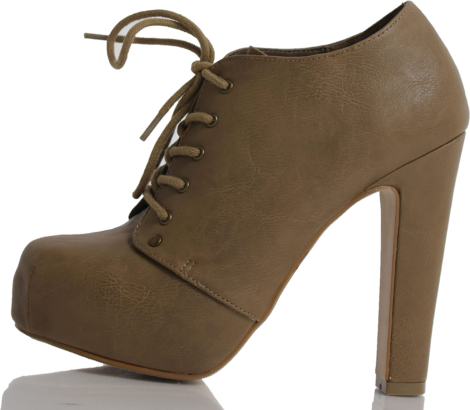 Taupe Faux Leatherette Lace Up Platform HIgh Heel Ankle Boots Spin IMSU