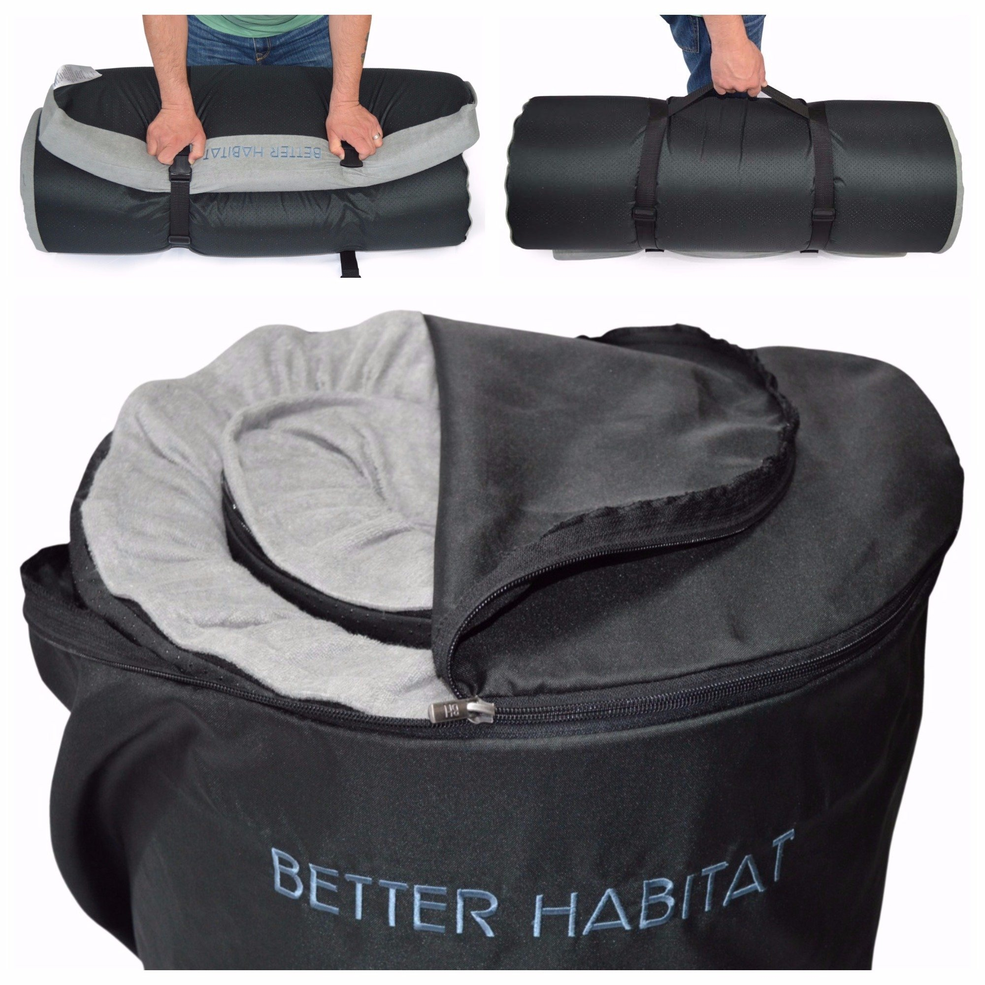 [NEW] Better Habitat SleepReady Memory Foam Floor Mattress (75 x 36''). [Roll out, Portable sleeping pad w/ waterproof cotton terry cover & travel bag] by Better Habitat (Image #5)