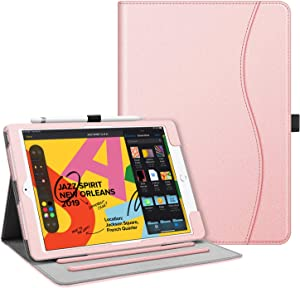 "Fintie Case for New iPad 7th Generation 10.2 Inch 2019 - [Corner Protection] Multi-Angle Viewing Folio Smart Stand Back Cover with Pocket, Pencil Holder, Auto Wake/Sleep for iPad 10.2"", Rose Gold"