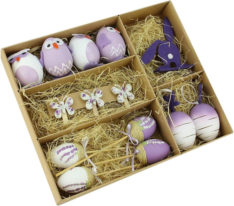 Set Five of Medium Hanging Egg whit Hens Easter Beautiful Decoration