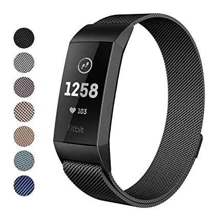 Yutior Metal Bands Compatible Fitbit Charge 3 & Charge 3 SE, Milanese  Stainless Steel Magnetic Replacement Bands Women Men Small & Large, Silver,  Rose