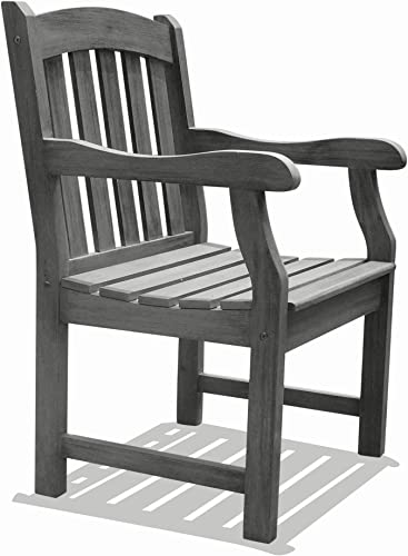 Vifah V1295 Renaissance Hand-Scraped Acacia Slatted Back and Seat Outdoor Armchair