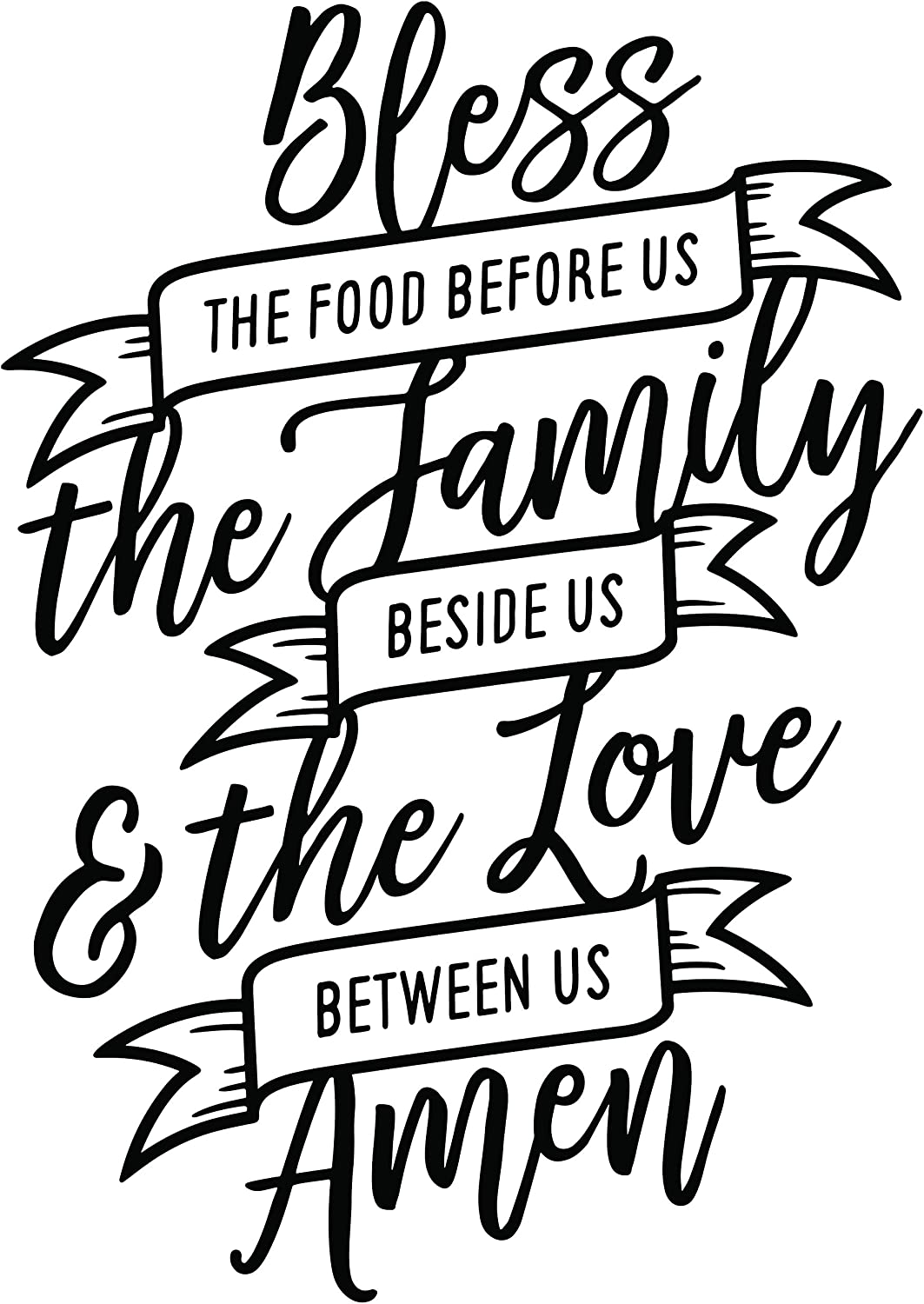 Bless The Food Before Us Sign (21x14 in) | Kitchen Wall Decals, Kitchen Wall Stickers, Wall Sayings Decals, Kitchen Stickers Wall Decor, Dining Room Decor for Wall, Home Wall Decals - SylkyClover